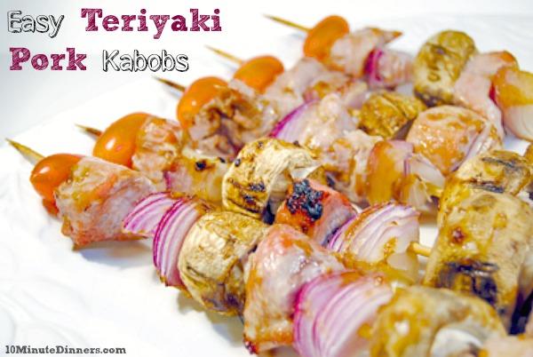 Teriyaki Pork Kabobs via 10minutedinners