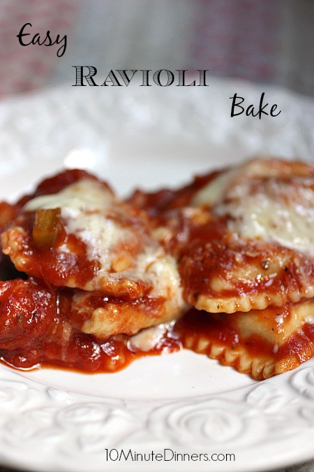 This unbelievably delicious Ravioli Bake comes together in minutes. So easy and cheesy!